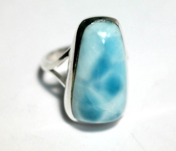 Excellent Sky Blue Larimar .925 Sterling Silver Ring # 5.5