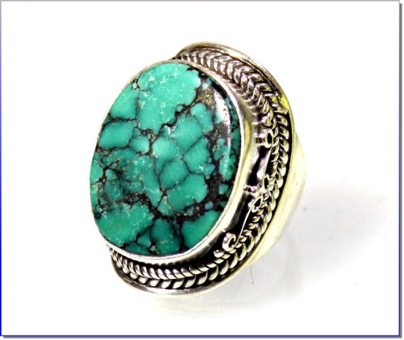 Exquisite Natural Green Turquoise .925 Sterling Silver Ring #8
