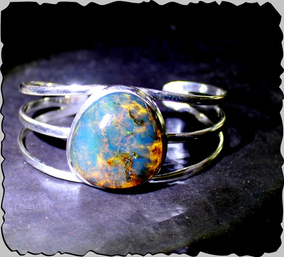 Excellent Natural Translucent Deep Blue Amber .925 Sterling Silver Cuff Bangle 6.5inch