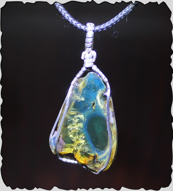 Outstanding 2 inch Dominican Natural Clear Sky Blue Rough Amber .925 Sterling Silver Pendant