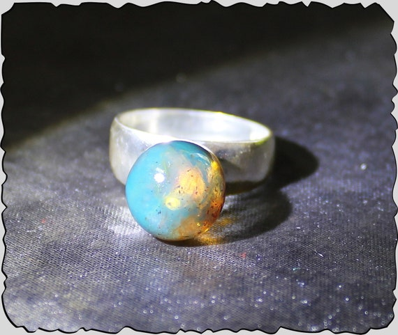 Dominican Natural Clear Sky Blue Round Sphere Bead Amber .925 Sterling Silver Ring #7.5