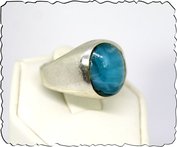 Exquisite Natural Volcanic Blue AAA++ Larimar .925 Sterling Silver Ring #10 for men unisex