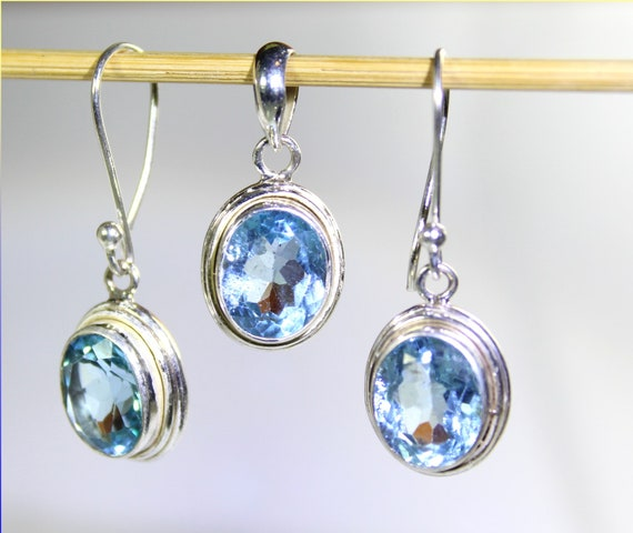 Lovely Crystal Clear Light Blue Aquamarine .925 Sterling Silver Earrings 1.4inch  +Free matching Pendant