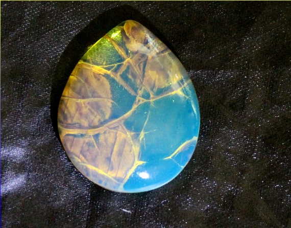 Premium Dominican Natural Clear Sky Blue AAA++ Fossil Amber Cabochon 23x18x6mm