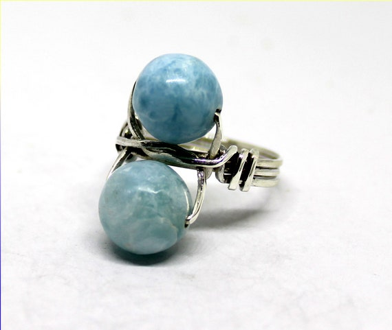 Impressive Natural Sky Blue Round Bead Larimar .925 Sterling Silver Ring #7.5