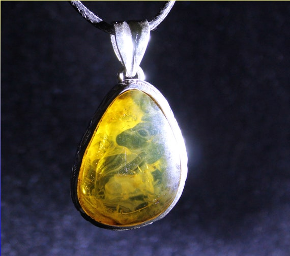 Biggest Dominican Natural Clear Orange Green Amber .925 Sterling Silver Pendant 42mm