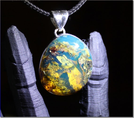 Outstanding Dominican Natural Clear w Impurities Sky Blue Amber .925 Sterling Silver Pendant 1.4 inch