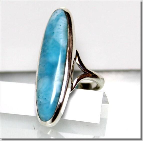 1.3 inch Big Impressive Natural Genuine Sky Blue AAA++ Larimar .925 Sterling Silver Ring #7  C-16-1810