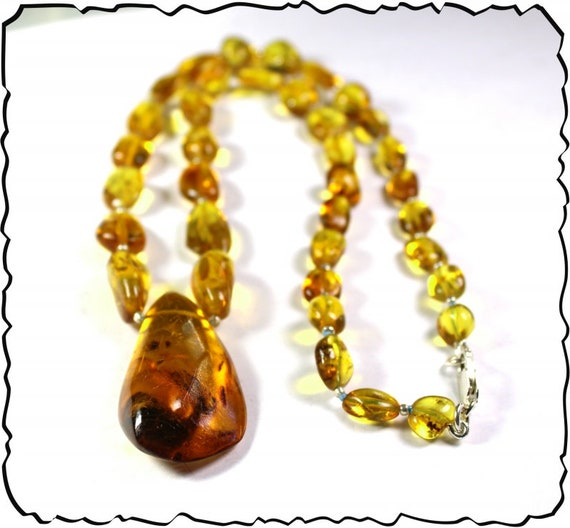 Impressive Natural Clear Yellow Amber .925 Sterling Silver Necklace 20.5inch