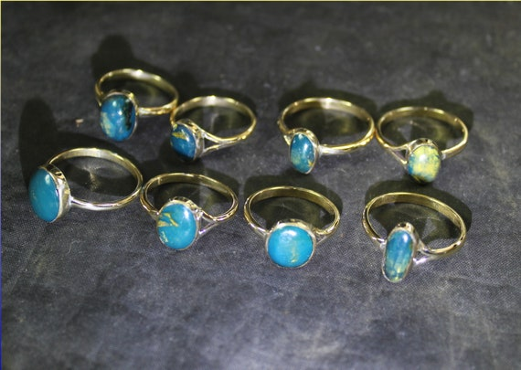 Wholesale Liquidation Lot 8 Genuine Dominican Deep Blue Amber 925 Sterling Silver Atlantis Gold Rings #6-9