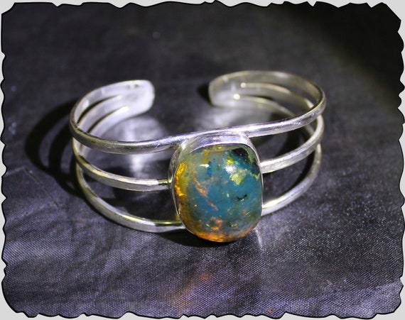 Exquisite Natural Clear Deep Blue Amber .925 Sterling Silver Bangle 6.5inch