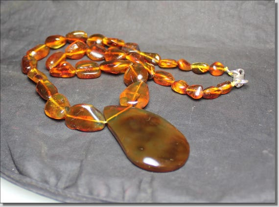 Dominican Natural Genuine Clear Green Red Amber .925 Sterling Silver Necklace 17.5 inch Pendant 2 inch C-33-1811