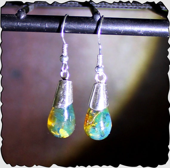 Exquisite 1.6inch Natural Clear Sky Blue Amber .925 Sterling Silver Dangle  Earrings