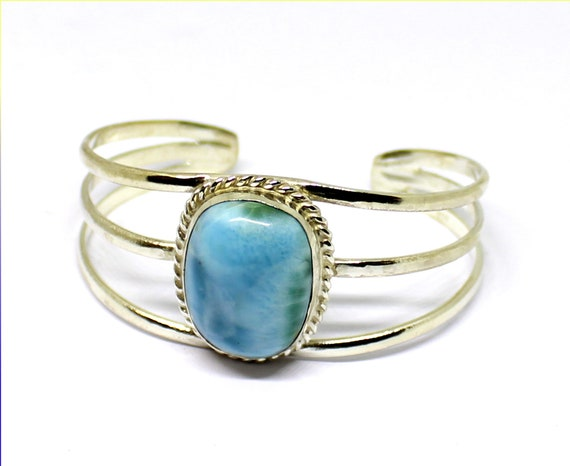 Exquisite Natural Sky Blue Green Larimar .925 Sterling Silver Bangle 7inch