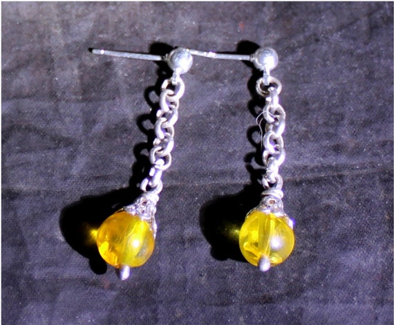 Dominican Natural Clear Yellow Orange Amber .925 Sterling Silver Round Bead Sphere Earrings 1.4inch