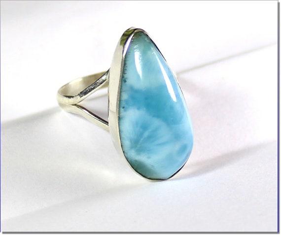 Excellent Natural Sky Blue Larimar .925 Sterling Silver Ring #8