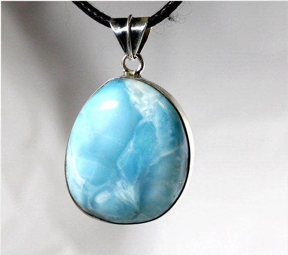 Exquisite Natural Genuine Sky Blue Larimar .925 Sterling Silver Pendant 1.6 inch