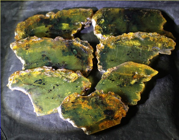 Wholesale liquidation lot, 7 Dominican Clear light green Amber polished Slabs 182 grams