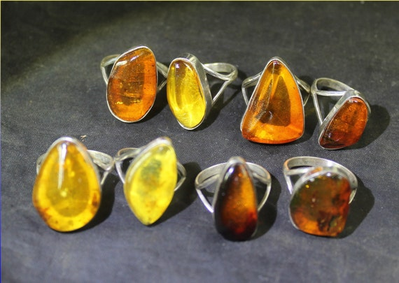 Wholesale Liquidation Lot 8 Genuine Dominican Yellow Orange Amber 925 Sterling Silver Rings #6-9