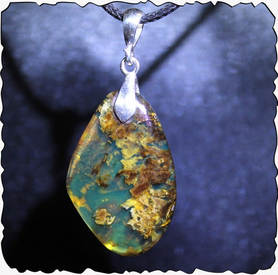2 inch Exquisite Dominican  Natural Clear Deep Blue Amber .925 Sterling Silver Pendant 23cts