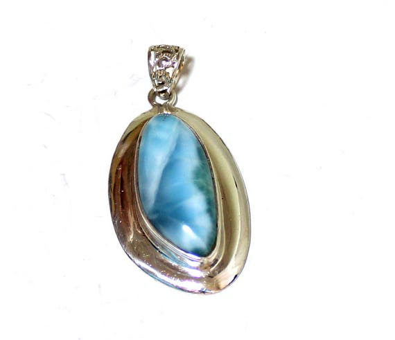 Charming Design Sky Blue Larimar .925 Sterling Silver Pendant  50mm C-16-1773