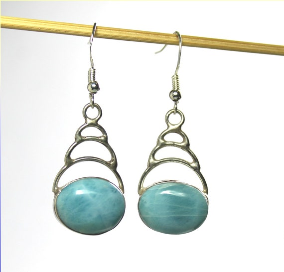 Exquisite Natural Sky Blue Larimar .925 Sterling Silver Earrings 1.8inch