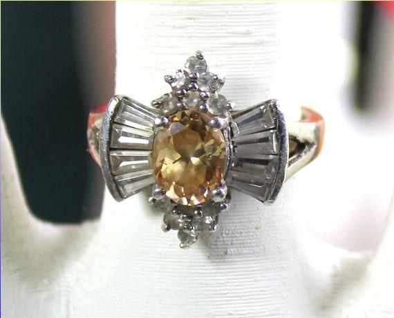 Impressive Natural Clear Light Orange Topaz .925 Sterling Silver Ring #7