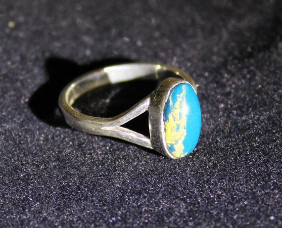 Dominican Clear Sky Blue Amber .925 Sterling Silver Ring #6 1/2  C-20-1715