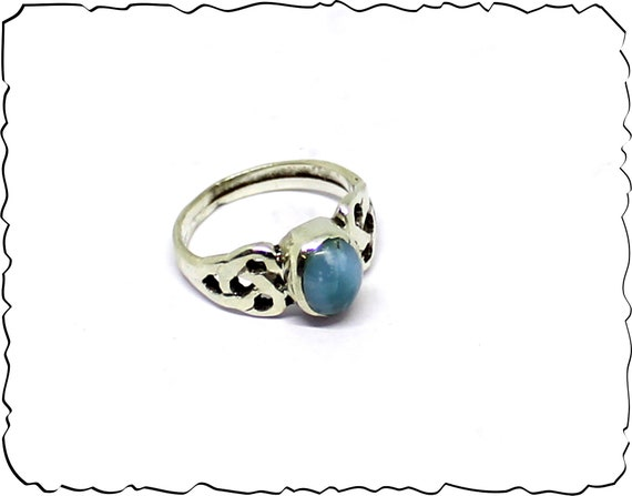Prettily Natural Sky Blue Larimar .925 Sterling Silver Ring #4.5 free resizing
