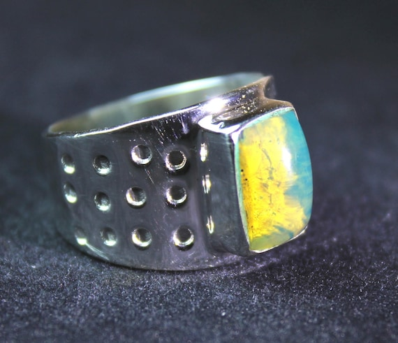 Authentic Handcrafted Dominican Clear Sky Blue Amber .925 Sterling Silver Ring #8  C-05-1728