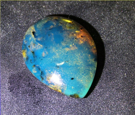 Exquisite Dominican Natural Clear Sky Blue Amber Teardrop Cabochon 28x21x8mm 2.6inch
