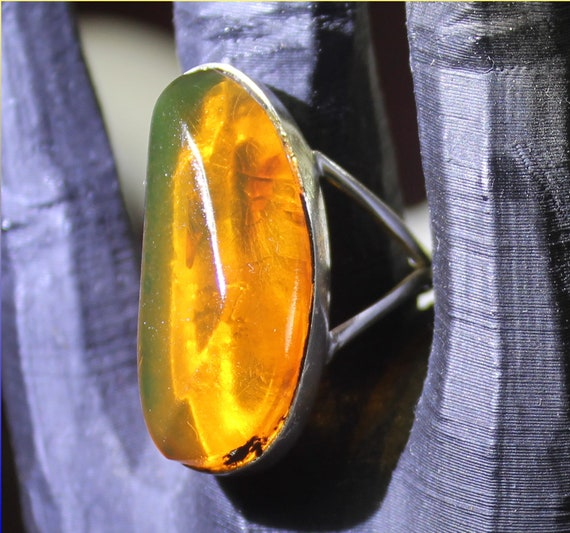 Biggest 1.1inch Dominican Natural Clear Orange Green Amber .925 Sterling Silver Ring #8