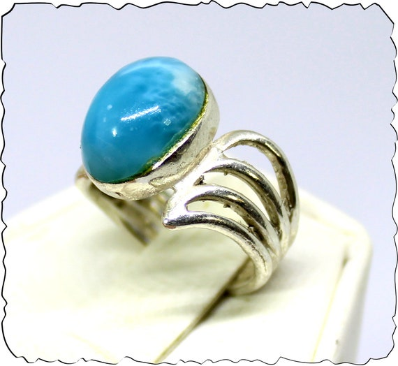 Impressive Natural Volcanic Blue Larimar .925 Sterling Silver Ring #6