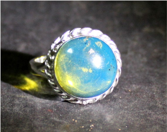 Dominican Natural Genuine Crystal Clear Sky Blue Amber .925 Sterling Silver Ring #7.5
