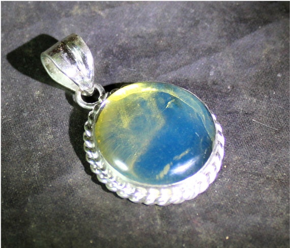 Dominican Natural Genuine Crystal Clear Sky Blue Amber .925 Sterling Silver Pendant 35mm