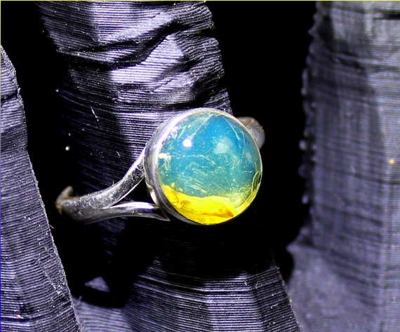Dominican Natural Crystal Clear Sky Blue Amber .925 Sterling Silver Ring #6