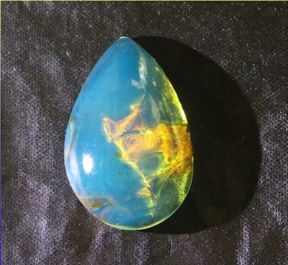 Outstanding Design Dominican Natural Clear Sky Blue AAA++ Amber Teardrop Cabochon 25x16x8mm