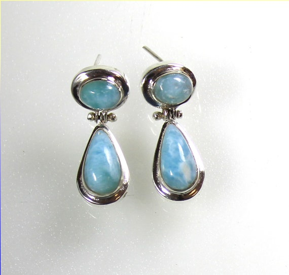 Exquisite Natural Sky Blue Larimar .925 Sterling Silver Dangle Earrings 1.2inch
