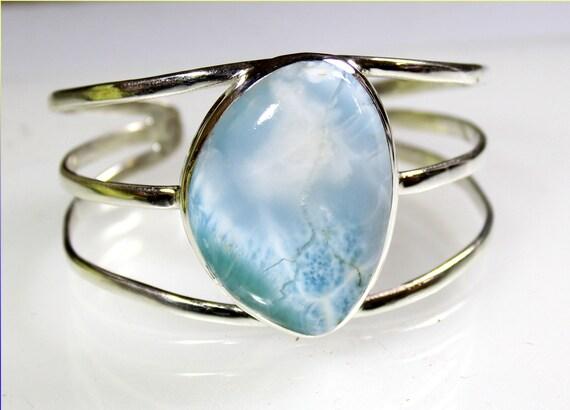 Biggest 1.4inch Exquisite Natural Light Blue Larimar .925 Sterling Silver Bangle 7inch
