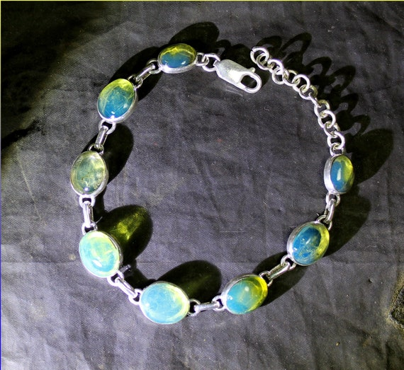 Outstanding Dominican Natural Oval Crystal Clear Sky Blue Amber .925 Sterling Silver Bracelet 6.75 inch + ext