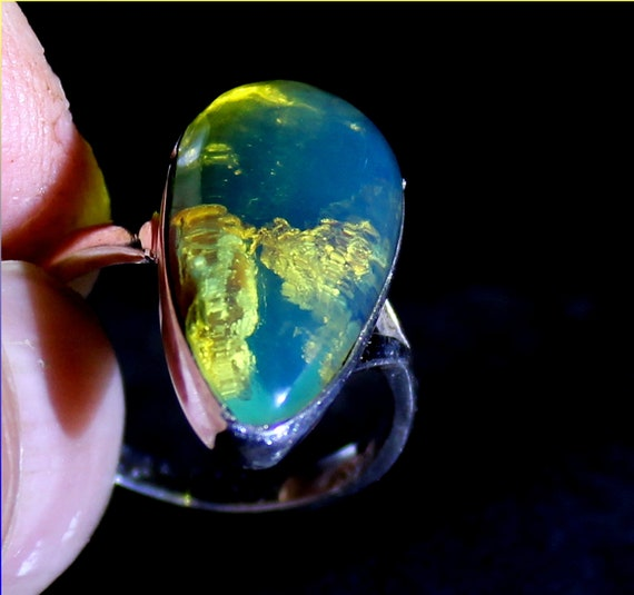 Exquisite Dominican Natural Clear Sky Blue Amber .925 Sterling Silver Ring #7.5 free resizing