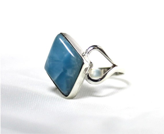 Impressive Natural Genuine Deep Volcanic Blue AAA++ Larimar .925 Sterling Silver Ring #9.5