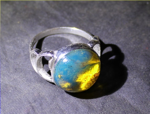 Dominican Exquisite 14.5mm Natural Clear Sky Blue Amber .925 Sterling Silver Ring #8.5
