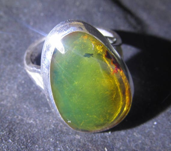 Dominican Clear Green Amber  .925 Sterling Silver RING #5  C-17-1434