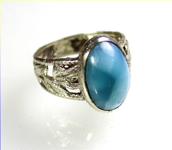 Exquisite Natural Sky Blue AAA++ Larimar .925 Sterling Silver Leaf Ring #9.5