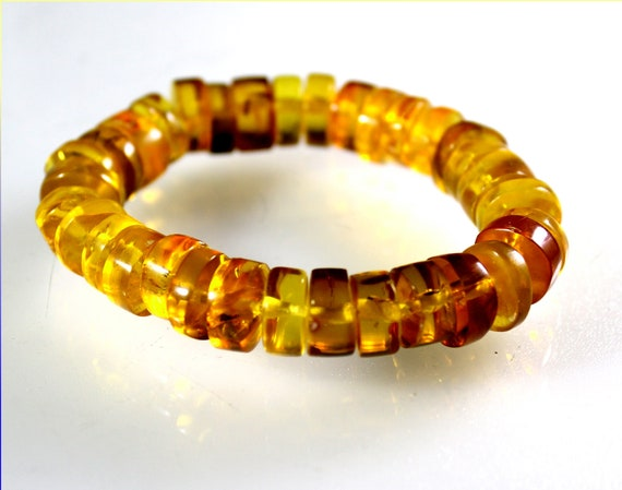 """Dominican Clear Yellow Amber Stretch Disc Coin Bracelet 6.5"""""""