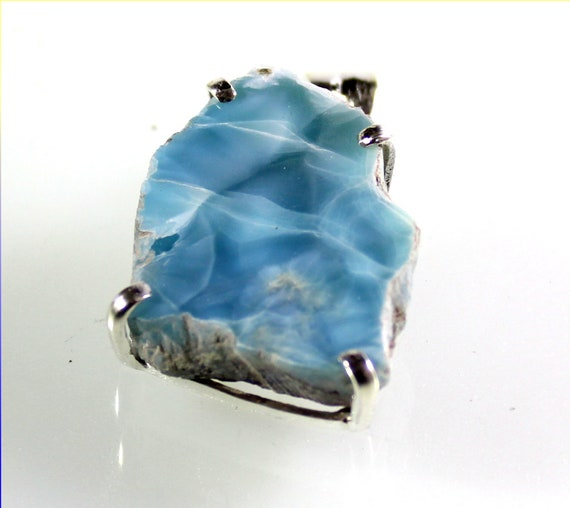 Charming Design Natural Volcanic Blue Larimar .925 Sterling Silver Pendant 1.5inch