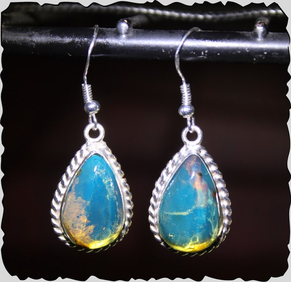 Premium Dominican Natural Sky Blue Amber .925 Sterling Silver Dangle Earrings 1.7inch