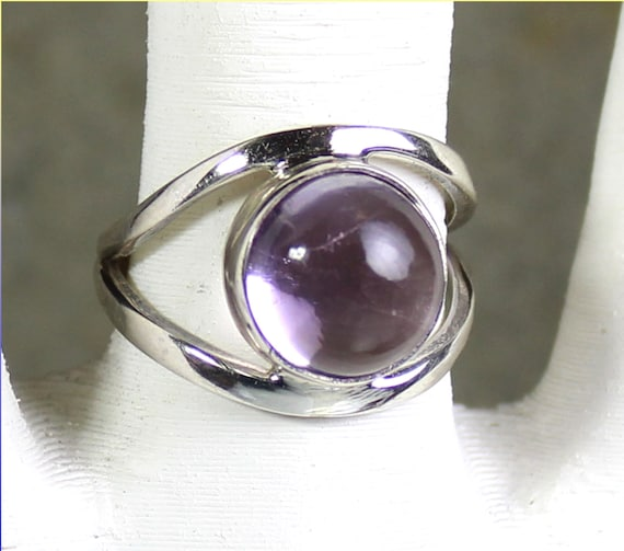 Exquisite Natural Light Purple Amethyst .925 Sterling Silver Ring #8