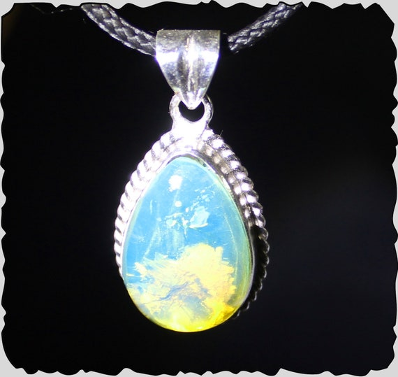 Impressive Premium Natural Crystal Clear Sky Blue Amber .925 Sterling Silver Pendant 1.4inch